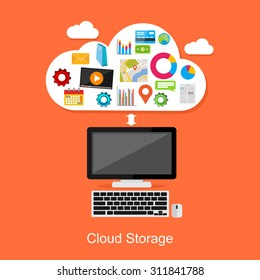 Cloud storage or cloud computing concept illustration.