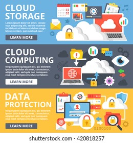 Cloud storage, cloud computing, data protection flat illustration set. Creative flat design elements and concepts for web sites, web banner, printed materials, infographics. Modern vector illustration