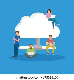 Cloud storage concept illustration of young people using mobile gadgets such as tablet pc and laptop for downloading app from cloud storage. Flat design of guys and women standing near big symbol