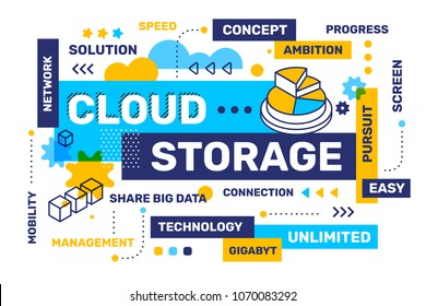 Cloud storage concept on white color background with icon, tag cloud. Vector creative horizontal illustration of word lettering typography. Flat style design for business banner