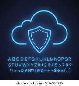 Cloud storage data protection neon light icon. Security shield. Cloud computing. Glowing sign with alphabet, numbers and symbols. Vector isolated illustration
