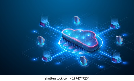Cloud storage. A digital service or application that transfers data to a server or hosting service. Data transfer protection and data center connection network. Web-based cloud. Vector illustration