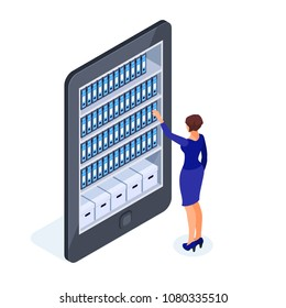 Cloud storage of documents. Isometric business concept of working with a database in the cloud. The employee takes out a folder from the shelf of the cabinet with the documents. Vector illustration.