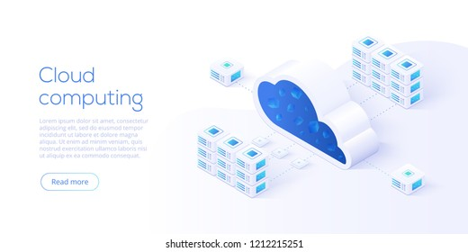 Cloud storage download isometric vector illustration. Digital service or app with data transfering. Online computing technology. 3d servers and datacenter connection network.