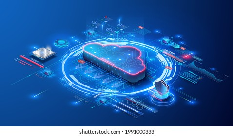 Cloud storage for downloading an isometric. A digital service or application with data transmission. Network computing technologies. Futuristic Server. Digital space. Data storage. Vector illustration