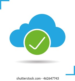 Cloud storage icon. Access granted. Drop shadow silhouette symbol. Cloud computing check mark. Negative space. Vector isolated illustration