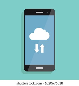 Cloud storage. Cloud icon on smartphone screen