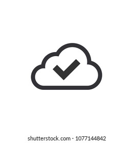 Cloud storage icon. Vector icon. Clouds with check icon. Check mark cloud.