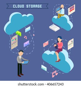 Cloud Storage. Isometric Computer Technology. People Uploading Files to the Repository. Vector illustration