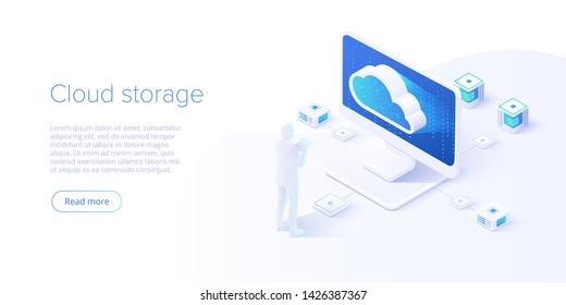 Cloud storage and pc download in isometric vector design. Computer service or app with data transfering. Online computing technology. Abstract server network connection.