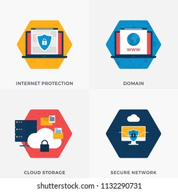 Cloud Storage, Secure Network, Internet Protection, Domain World Wide Web -  WWW Flat Banners for Websites. Vector Illustration Set About Internet and Security