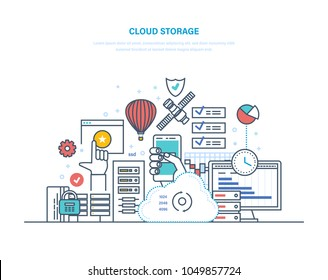 Cloud storage service. Security of data storage device. Internet media server, web hosting, cloud technology. Data protection, database security, online server. Illustration thin line design.