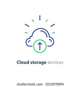 Cloud storage services concept, vector mono line icon
