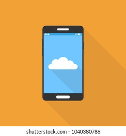Cloud storage services. Cloud icon on smartphone screen. Vector illustration.