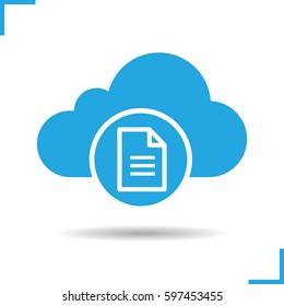 Cloud storage text document icon. Drop shadow silhouette symbol.