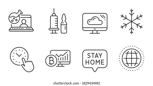 Cloud storage, Time management and Stay home line icons set. Medical vaccination, Snowflake and Globe signs. Online chemistry, Bitcoin chart symbols. Quality line icons. Cloud storage badge. Vector