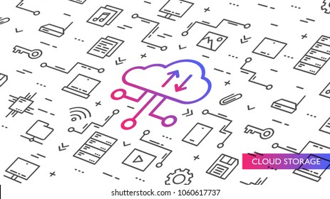 Cloud storage vector illustration. Internet technology to save data on remote servers creative concept. Wireless data transfer (file backup) graphic design. Cloud computing system