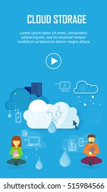 Cloud storage video web banner in flat style. Information sharing and saving. Servers, users, drops, computer networks,media icons. Illustration for video presentation or corporate ad animation clip