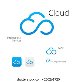 Cloud stylish logo and icons