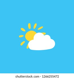 Cloud and sun flat color illustration. Sunny weather forecast. Sky hand drawn vector background