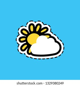 Cloud and sun flat color sticker with dash line