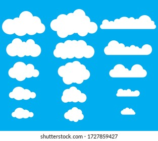 Cloud symbol or logo, different clouds set.Clouds icon, vector illustration.