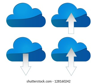 Cloud Sync with directional arrows on transparent background.