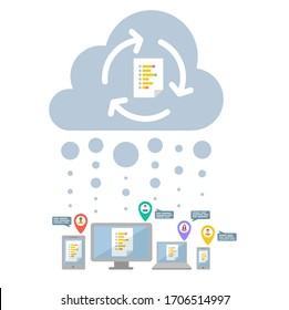 Cloud syncing vector of a business document in Office 365. Productivity concept. Real time and cross device collaboration icon.