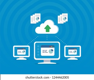 Cloud system technology. Exchange of information between different devices. Vector illustration in flat style.