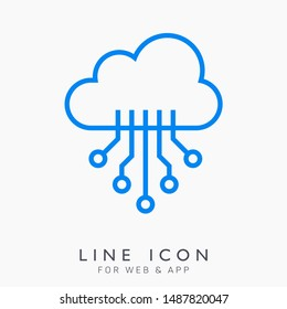 Cloud system technology vector line icon