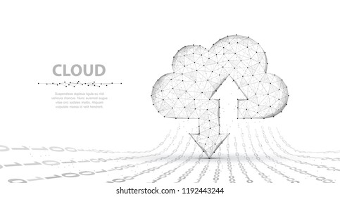 Cloud technology. Abstract polygonal wireframe cloud storage sign with two arrows up and down isolated on white with dots. Cloud computing, big data Concept illustration or background