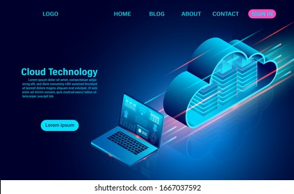 Cloud technology concept. online computing technology. big data flow processing concept. isometric flat design vector illustration