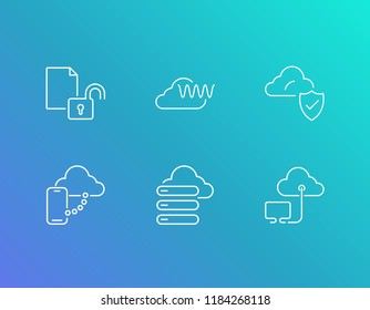 Cloud technology icon set and hosting with big data analysis, cloud security and mobile sync with cloud. Sync related cloud technology icon vector for web UI logo design.