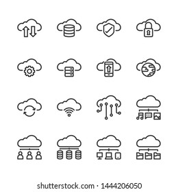 Cloud technology icon set.Vector illustration