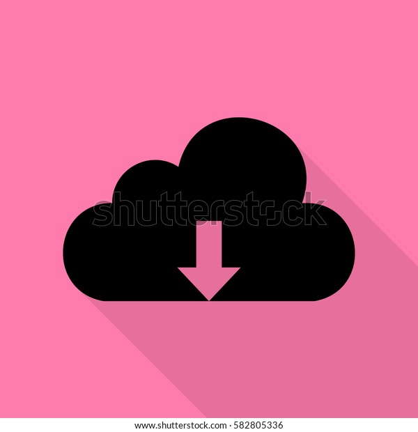 Cloud technology sign. Black icon with flat style shadow path on pink background.