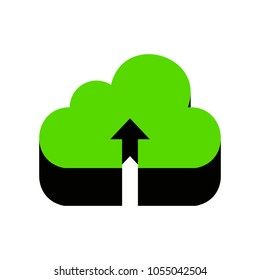 e67427ea1 Cloud technology sign. Vector. Green 3d icon with black side on white  background.