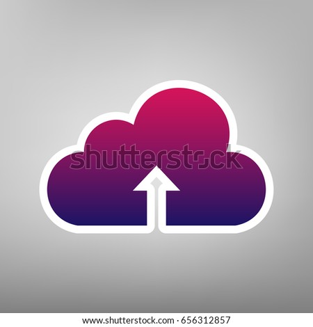 ff56fe364 Cloud technology sign. Vector. Purple gradient icon on white paper at gray  background.