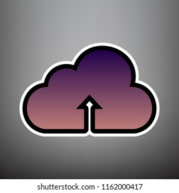 d87abea70 Cloud technology sign. Vector. Violet gradient icon with black and white  linear edges at