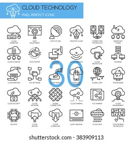 Cloud Technology  , Thin Line and Pixel Perfect Icons