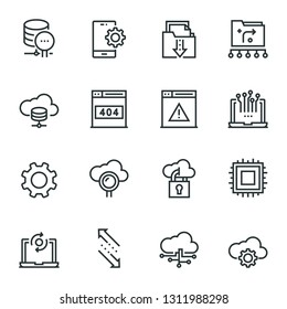 Cloud Technology web icon set - outline icon collection, vector. Editable Stroke. 48X48 Pixel Perfect.