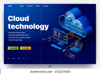 Cloud technology website. Concept of a landing page for data center. Website providing the service of modern cloud technology. Vector website template with 3d isometric illustration data center