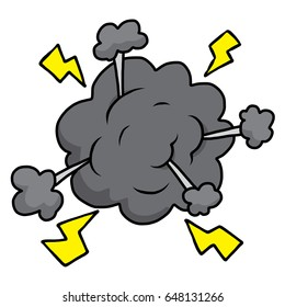 cloud and thunder bolt / cartoon vector and illustration, hand drawn style, isolated on white background.