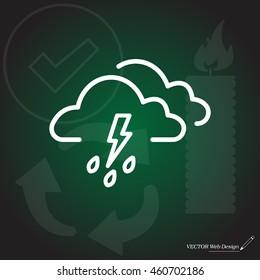 Cloud thunderstorm lightning rain icon