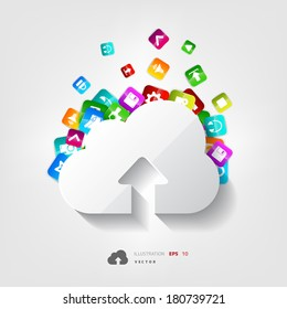 Cloud upload icon. Application button.
