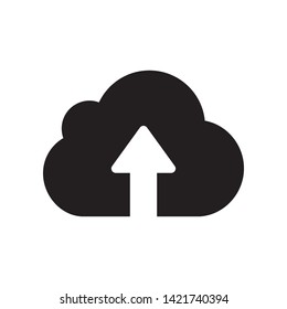 cloud upload icon on white background , vector symbol