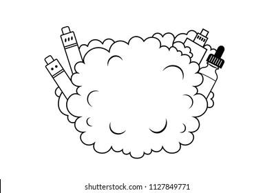 Cloud Vape. Vaping box mod and vapor cloud for text. For vape shop logo, electronic cigarettes store or t-shirt print.