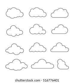 Cloud vector. Clouds vector. Cloud icon. Cloud icons set. Two colors computing symbols, signs and logos. Clouds symbol.
