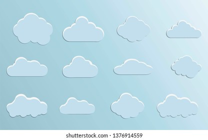 Cloud vector. Cloud icon isolated on blue background.