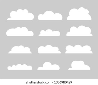 Cloud vector icon set. White clouds on grey background