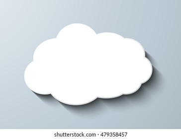 Cloud vector icon set white color on grey background. Sky flat illustration collection for web, art and app design. Different nature cloudscape weather symbols.
